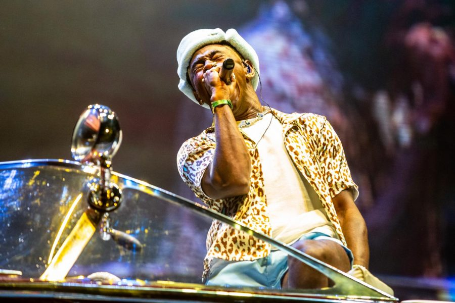 Rapper Tyler, the Creator performs on the T-Mobile stage while sitting in a boat at Lollapalooza on July 30.