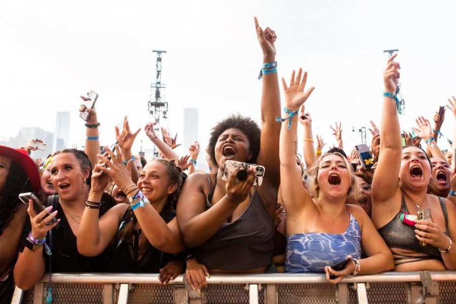 Festivalgoers cheer for Megan Thee Stallion at the T-Mobile stage on July 31 at Lollapalooza.