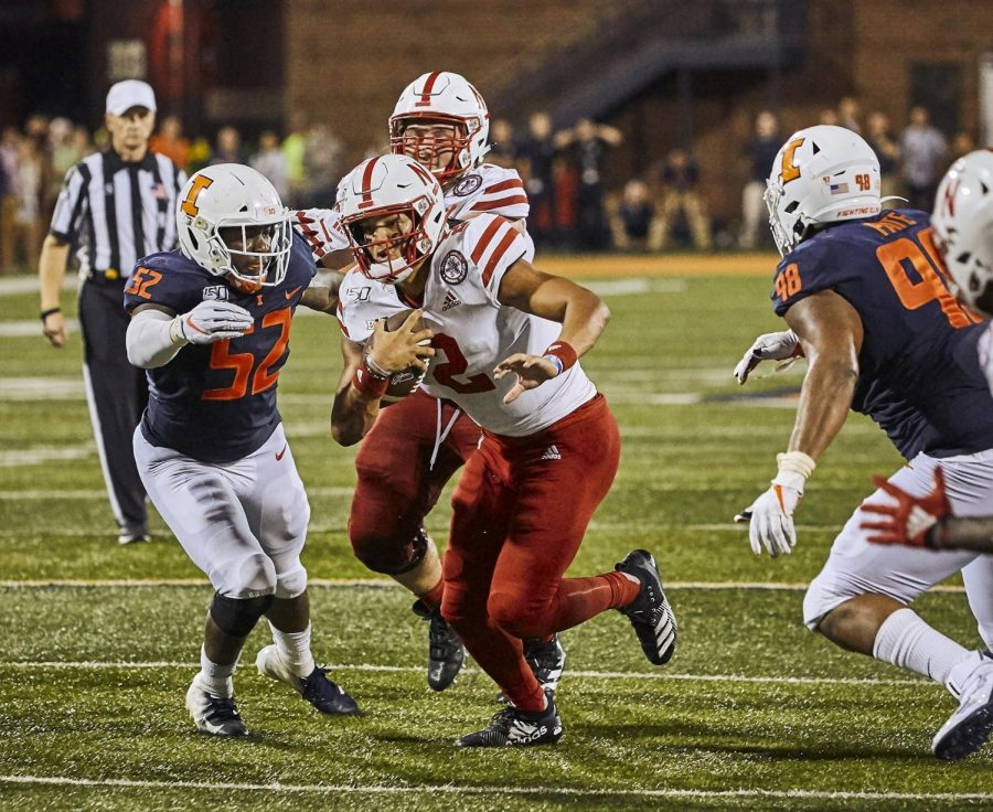Offensive linebacker Verdis Brown looks to tackle his opponent during the game against Nebraska Sept. 21. Illini defense gear up to compete against Nebraska on Saturday at Memorial Stadium with their lead Quarterback Adrian Martinez.