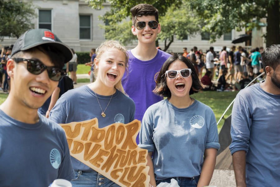Students in the Illinois Outdoor Adventure Club pose for a photo during Quad Day on Aug. 26, 2018. Follow through on your commitments to different RSOs by following these tips.
