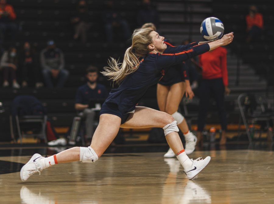 Junior Diana Brown hits the ball during a game against Purdue at Holloway Gym on April 3.  The team prepares to play against several different team in Milwaukee this weekend.