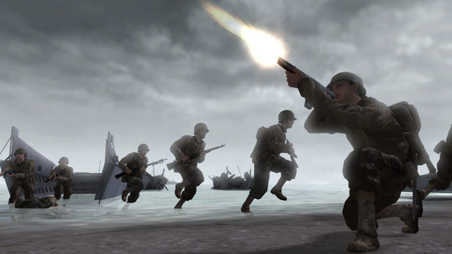 A screenshot of the video game Call of Duty 2 is shown above. The game was released on Oct. 5, 2005.