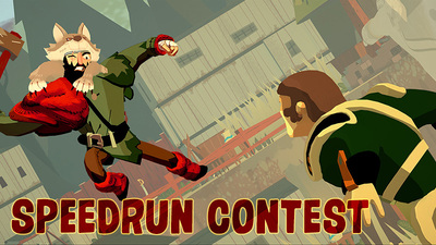 A graphic from the game Bloodroots challenges a player to a speed contest. The game was released March 12.
