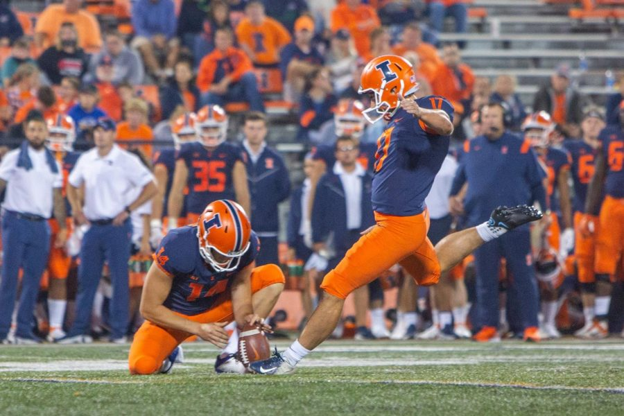 Kicker James Mc Court begins to follow through on a kick during the Illinois football game against UTSA on Saturday. McCourt and Blake Hayes played a vital role in competing against UTSA.