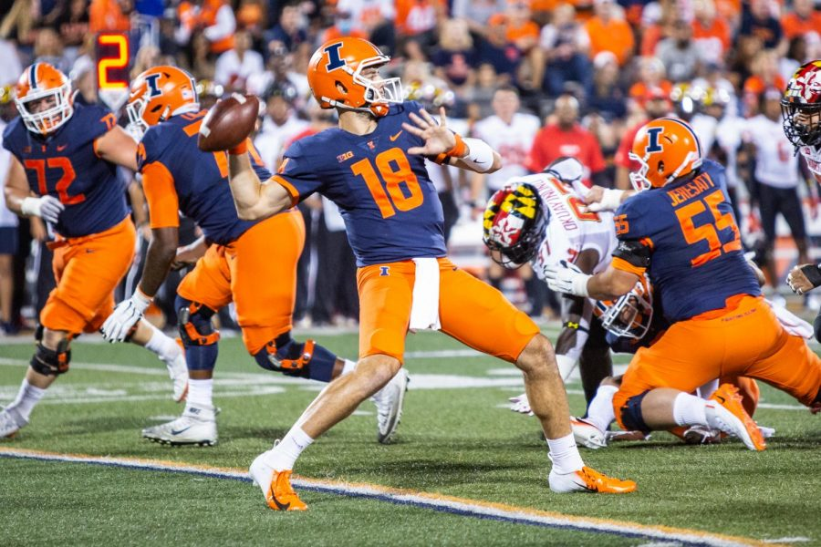 Brandon Peters gets ready to pass the ball during Illinois game against Maryland on Sept. 17. Peters didnt have an ideal return from injury, tossing less than 200 yards and an interception in the Illinis disappointing 20-17 loss to the Terrapins.