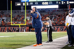 Bret Bielema shouts from the sideline during Illinois game against Maryland on Friday. Despite a slew of recent ugly losses, there is still reason for optimism this season in Champaign.
