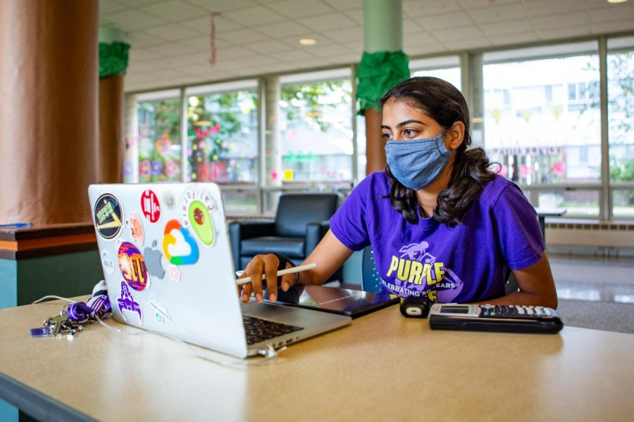 Anusha Adira, Freshman in Engineering, studies in the lobby of Weston which is home to the LEADS Living-learning community on Sept. 18. LLCs offer students an opportunity to get involved and increase their social interactions.