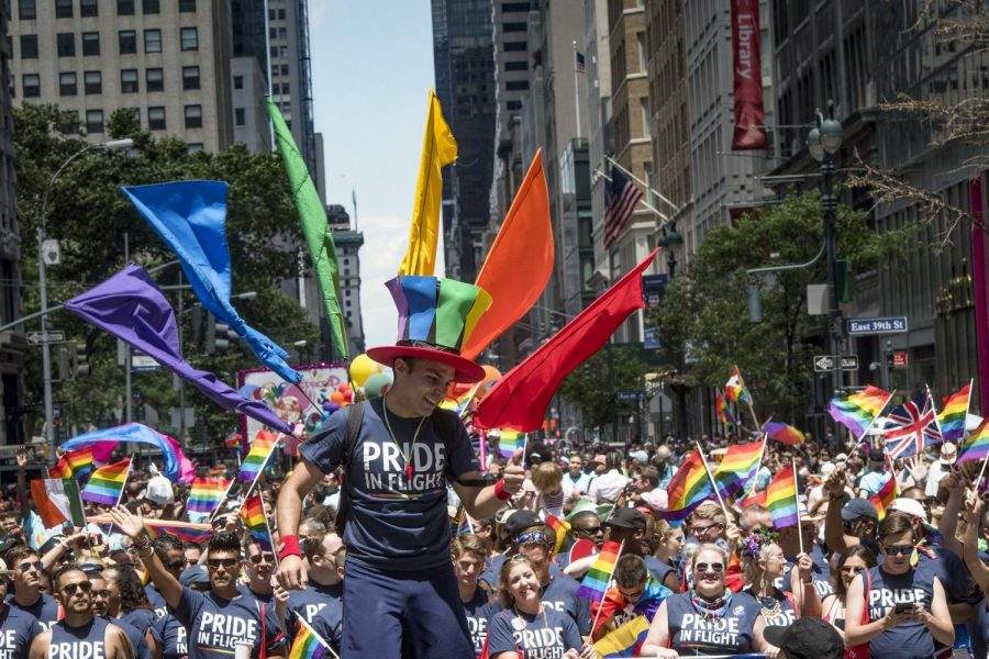 Delta employees participate in NYC Heritage of Pride on June 25, 2017. Columnist Dennis Austin argues that White gay cultures toxicity resembles racism.