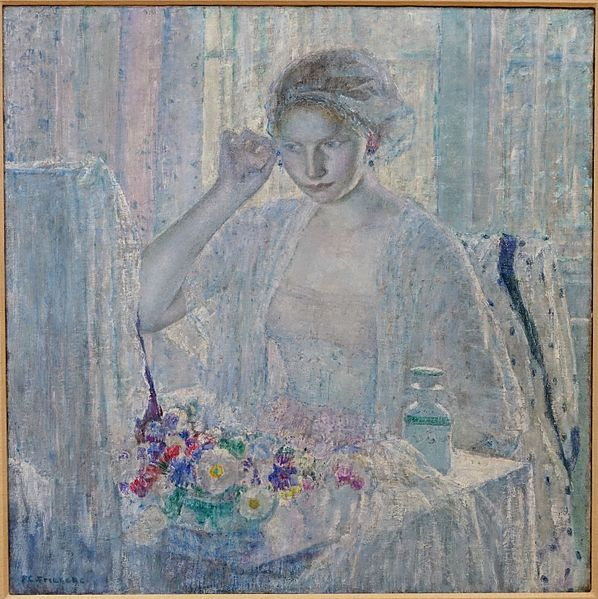The painting is titled Girl with Earrings created in 1917. It is on display in the Krannert Art Museum.