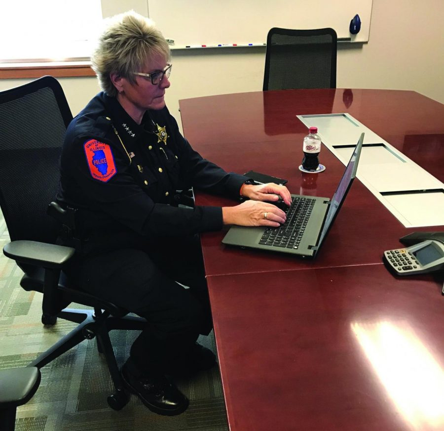 Police Chief Alice Cary of the University of Illinois Police Department responds to Reddit comments on her laptop. Cary answered questions from the University community to provide more transparency specifically about campus crime.