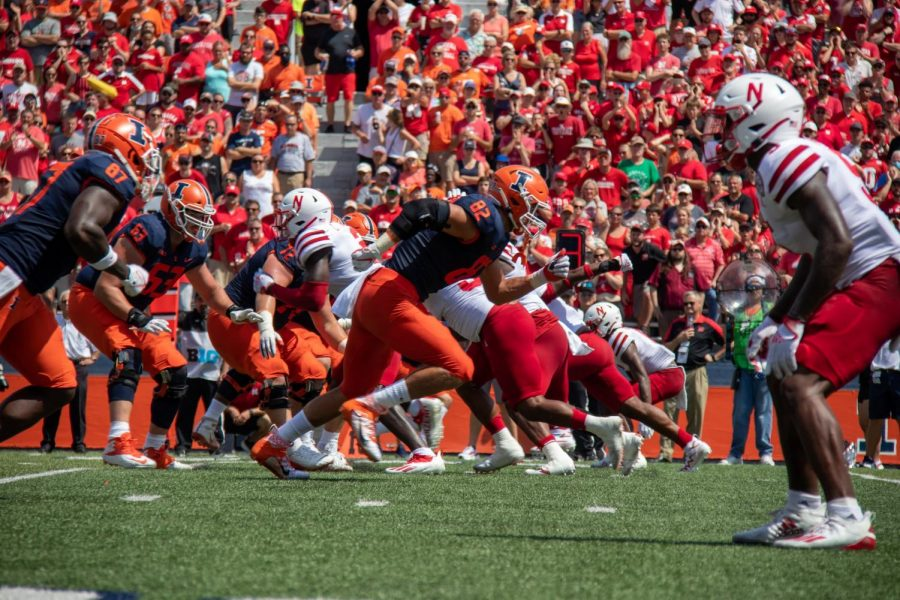 Luke Ford (82) runs a route during the game against Nebraska on Aug. 28 at Memorial Stadium. Jackson argues that tight ends need to continue being a priority for Bielema and the Illini after they were underutilized under Lovie Smith.