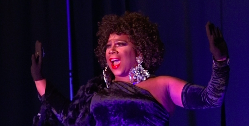 """Ceduxion Carrington or """"Big Booty Judy,"""" performs """"I'm Every Woman"""" by Whitney Houston at Cocktails and Queens drag show Sep. 11."""