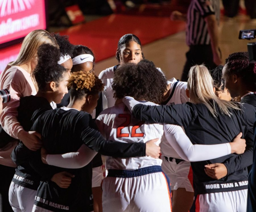 The womens basketball team huddles up before their game against Nebraska on Jan. 25. With the schedule being released, there are several games you do not want to miss.