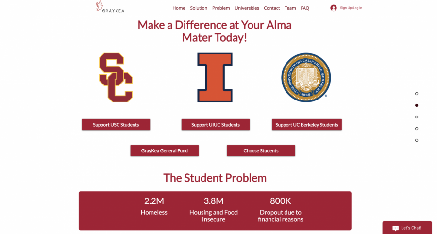 A screenshot from the website Graykea is shown above. Manav Modi, junior in engineering, created a startup to help others pay for college.