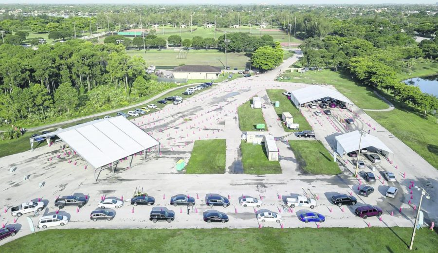 Birds-eye view of a COVID-19 testing center in Florida. The Delta variant and how to prevent is discussed.