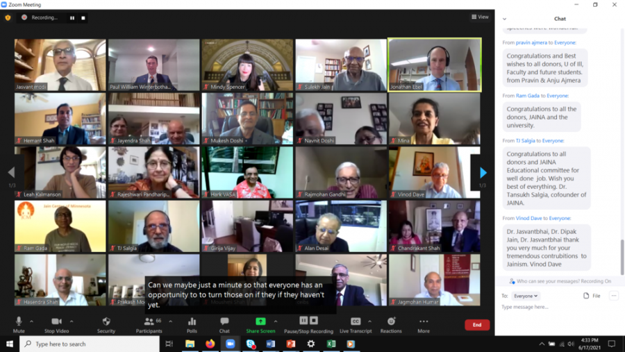 A Zoom meeting is held while Jainism received a donation for the study of Jainism on July 5. The religion Jainism will be studied under the Religious Department.