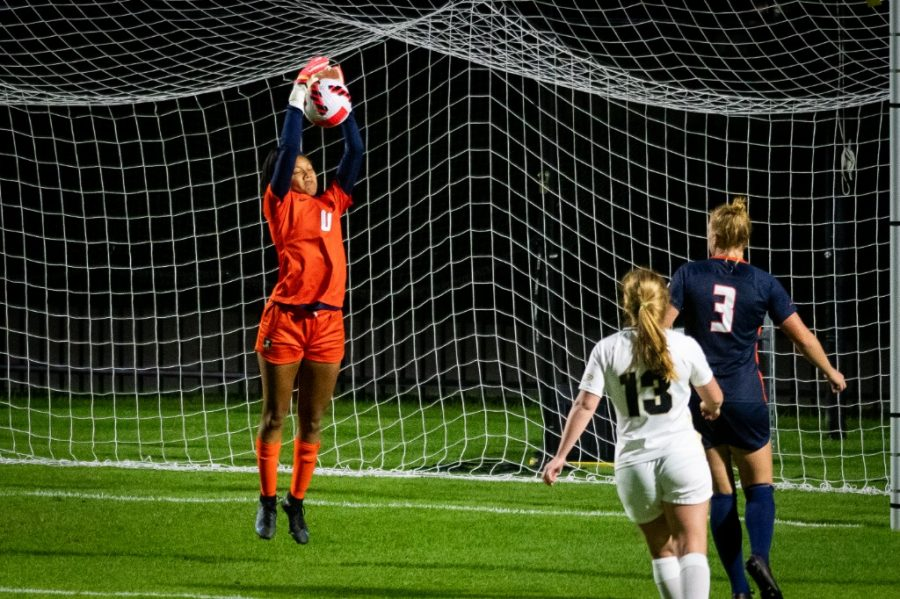 Freshman Naomi Jackson saves a ball from going into the goal against Purdue on Sept. 23. The team is working on getting out of their slump as their game against Northwestern approaches.