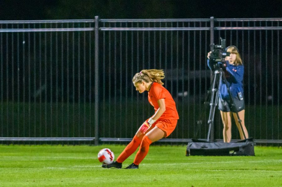 Sophomore Julia Cili kicks the soccer ball during a game against Xavier on Sept. 2. The team played against the Michigan Wolverines this weekend and had a close game losing 2-1.
