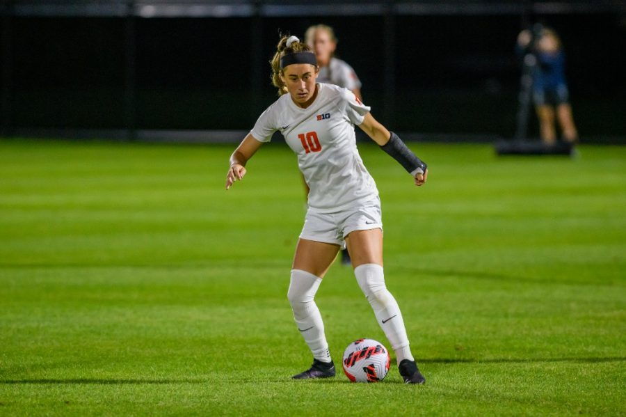 Senior Hope Breslin kicks the soccer ball during the teams game against Xavier on Sept. 2. Hope Breslin is one of three leaders on the team this year.