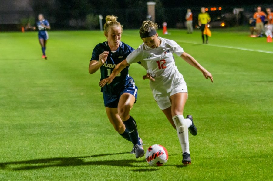 Junior Kendra Pasquale maintains control over the soccer ball against Xavier on Sept. 2. The team is set to play Purdue on Sept. 23. in Champaign.
