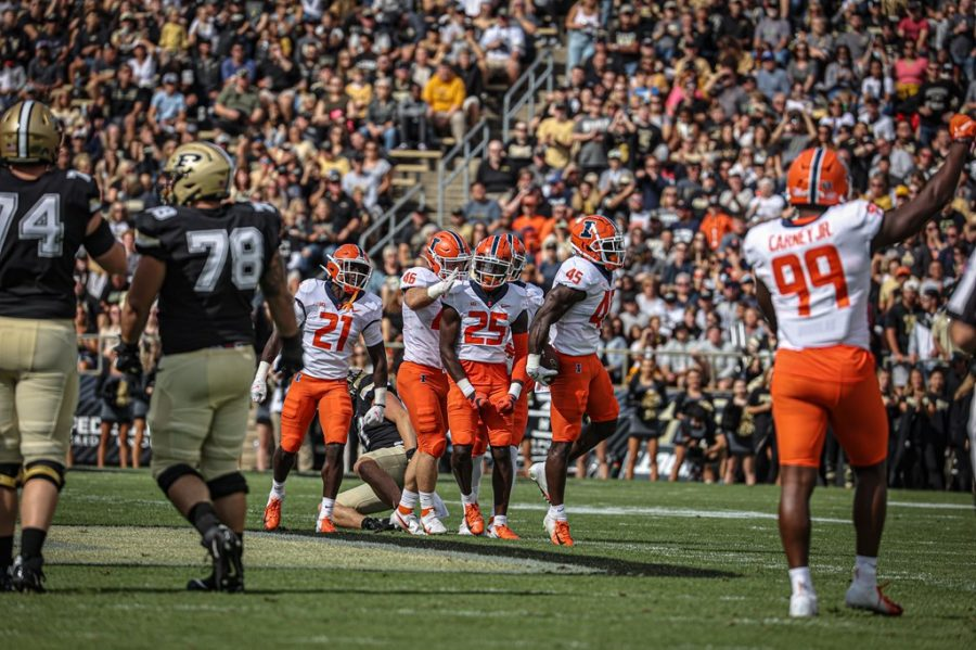 Kerby Joseph celebrates after making a big play during the game against Purdue on Saturday. Despite the loss, the Illini defense has shown tremendous improvements over the last two weeks.