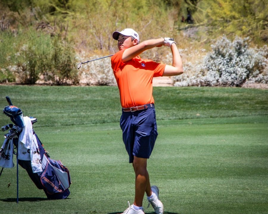 Junior Jerry Ji follows through on his swing during the 2021 NCAA Golf Championship at Grayhawk Golf Club Scottsdale, Arizona May 31. The Illinois men's golf team will travel to Bloomington, Indiana, for the Hoosier Collegiate Invitational over the Labor Day weekend.