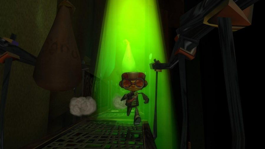 A character from Psychonauts runs down   a walkway. The game was released April 19, 2005.