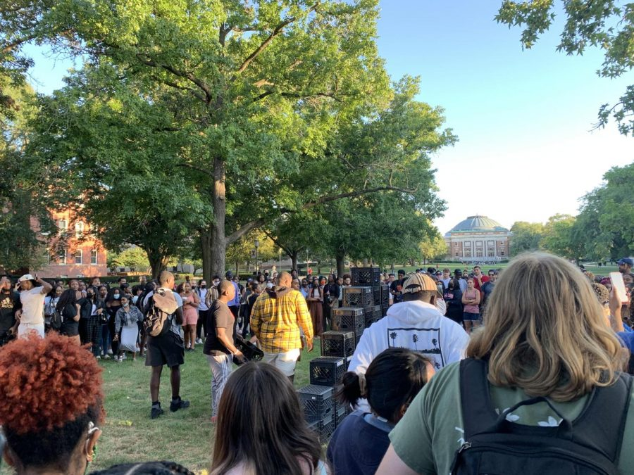 University students gather at the Main Quad on Sept. 1 to recreate the viral social media trend: milk crate challenge.  This challenge was created on Tik Tok and many people have tried and failed at the challenge.