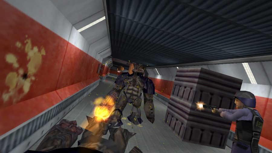 A screen shot from the video game Half-Life is shown above. The game recently underwent a virtual reality transition.