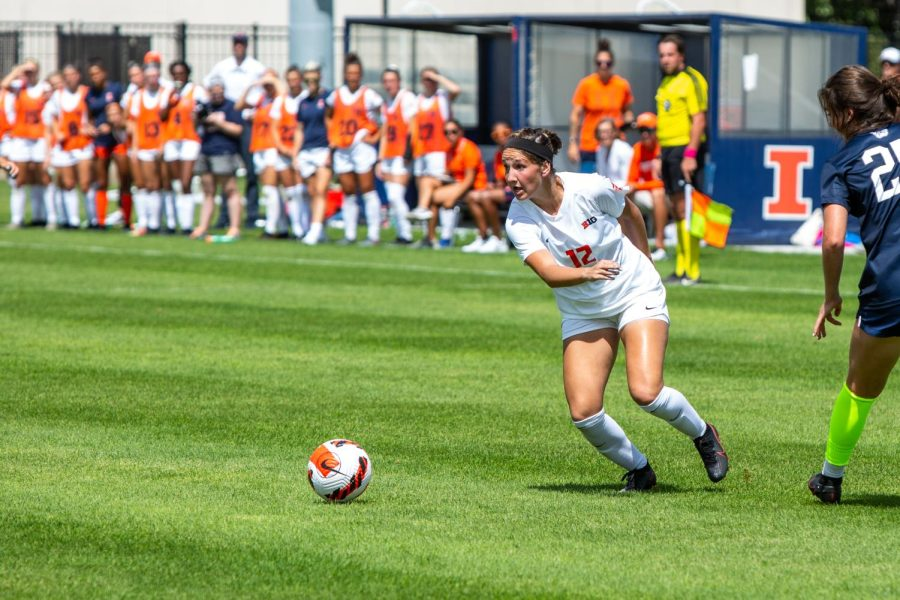 Defender Kendra Pasquale sprints to the ball at the game against Butler Aug. 29. Maryland is eager to win against the Illini in Champaign on Sunday to comeback from past losses.