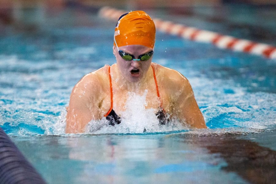 Senior Emily Bolger does the breaststroke at the Orange and Blue meet Oct. 9. Illini swim and dive started off their season strong against Indiana State on Friday.