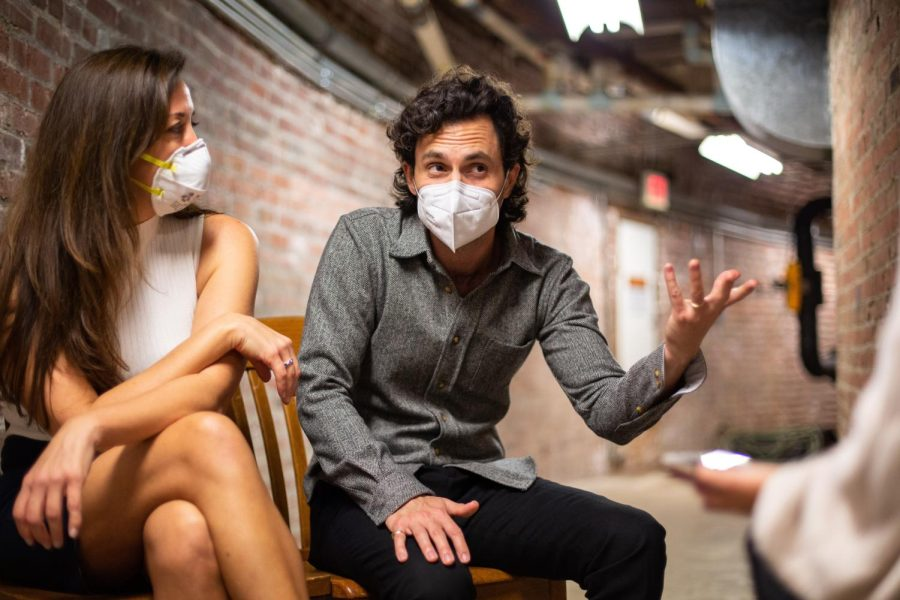 """Actor Penn Badgley and Arizona State University professor Nura Mowzoon speak with buzz Editor Carolina Garibay about their """"Can We Talk?"""" discourse series Thursday. The University of Illinois was the pairs first in-person stop since the pandemic."""