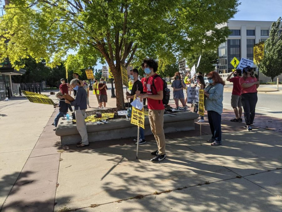 The Party for Socialism and Liberation - Champaign-Urbana protests at the Cancel the Rents in Champaign County rally on Sept. 26.  Illinois officials are now facing pressure from the community after the eviction moratorium expired on Oct. 3.