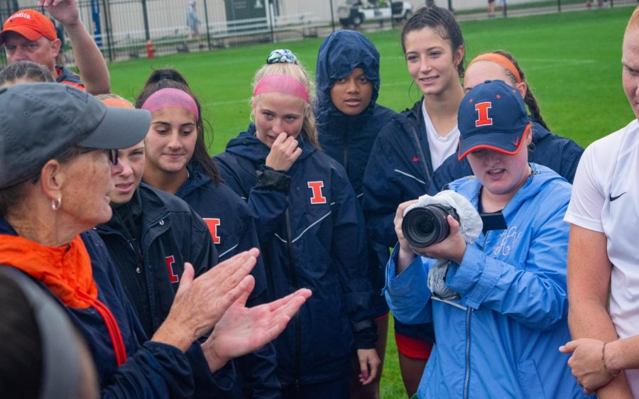 Illinois soccer head coach Janet Rayfield speaks to her team during the game against Maryland Oct. 3. The team looks past their recent losses in hopes of performing better during their last two games of the season.