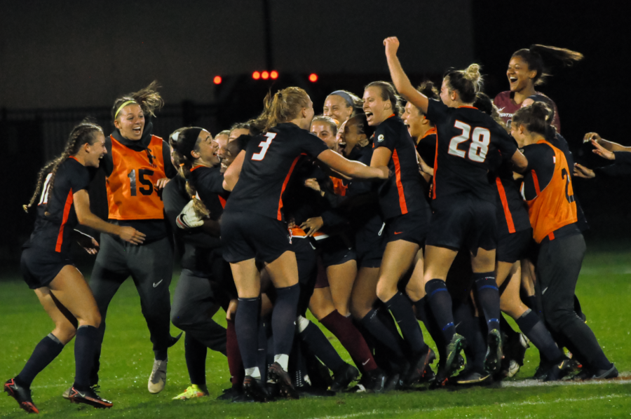The+soccer+team+celebrates+on+the+field+after+their+tie+against+Wisconsin+on+Oct.+8.+The+soccer+team+looks+to+beat+Minnesota+today+in+Minneapolis.+