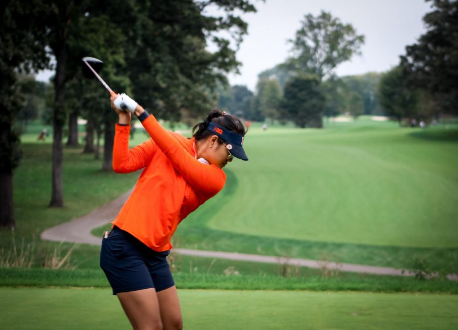Senior Crystal Wang swings her club during the Illini Invitational at the Medinah Country Club. The Illini finished sixth.