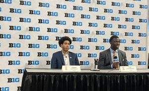 Andre Curbelo and Kofi Cockburn field questions during Big Ten Basketball Media Days at Gainbridge Fieldhouse in Indianapolis on Thursday. Curbelo will take on a bigger role for Illinois this season.