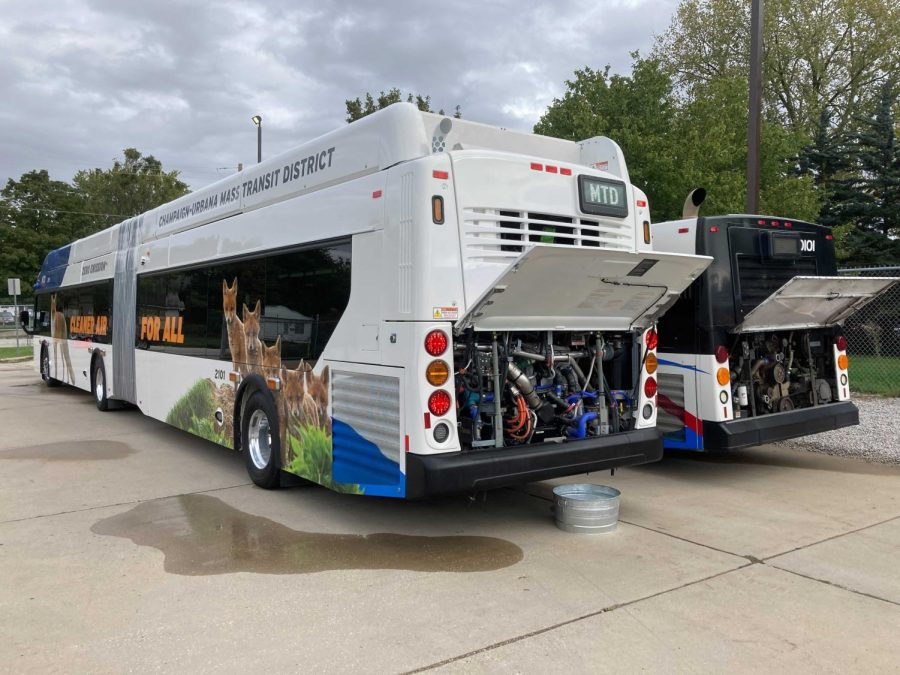 A newly designed MTD bus parks at the Champaign-Urbana Mass Transit District Maintenance Department on Oct. 14. MTD recently unveiled their zero-emission hydrogen fuel cell buses that solely emits water vapor.