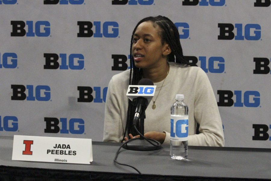 Junior Jada Peebles speaks during Big Ten Basketball Media Days at Gainbridge Fieldhouse in Indianapolis on Thursday. Despite significant roster and coaching changes this season, the Illini are not concerned with any issues relating to identity or culture.