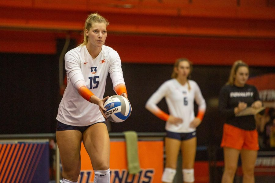 Graduate+student+Megan+Cooney+prepares+to+serve+the+ball+during+the+match+against+Purdue+on+Wednesday+at+Huff+Hall.+The+Illini+lost+the+match+3-2.
