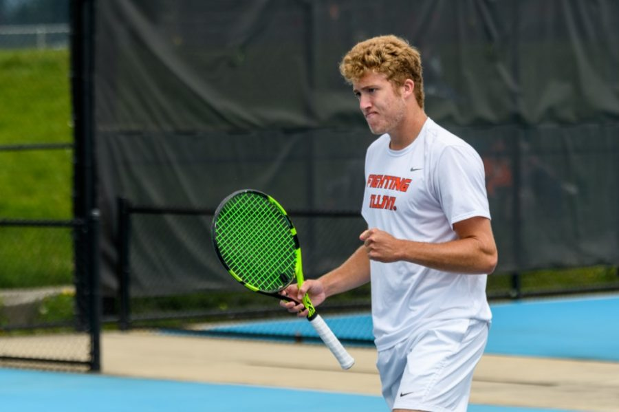 Graduate+student+Alex+Brown+celebrates+after+a+play+against+Notre+Dame+on+May+8.+Brown+recently+bowed+out+of+the+ITA+All-American+Championships+early+for+Illinois+mens+tennis.