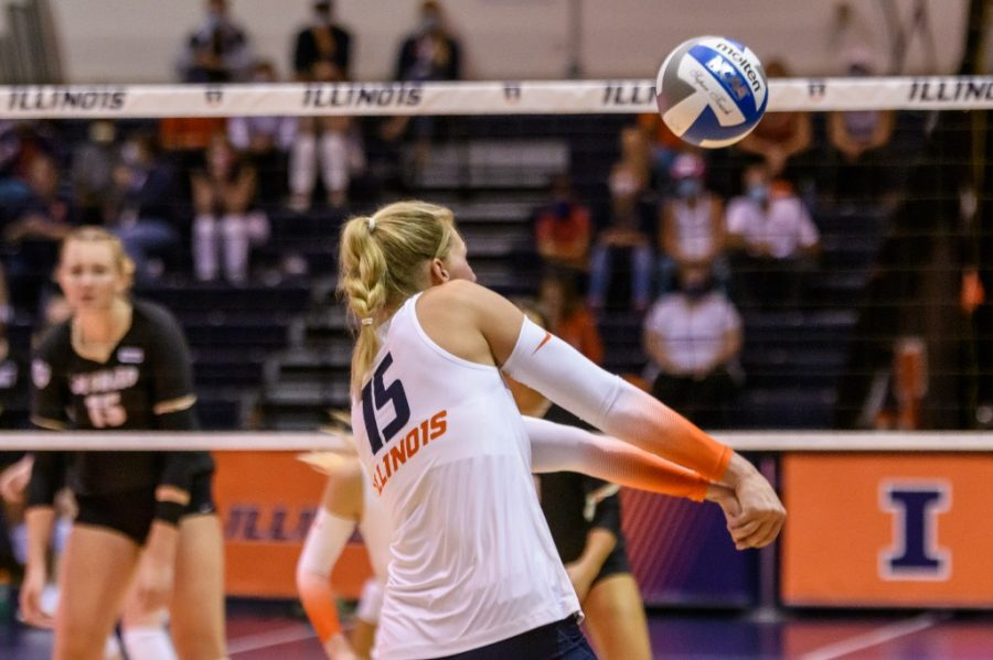 Graduate Student Megan Cooney bumps the volleyball during a game against Colorado Sept. 4. The team beat Purdue Boilermakers on Friday and looks to beat them again for a third time.
