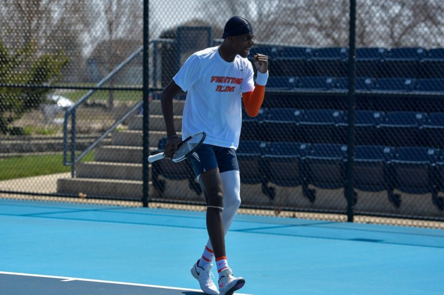 Senior+Kweisi+Kenyatte+celebrates+scoring+during+a+match+against+Minnesota+April+4.+Kenyatte+came+to+Illinois+to+get+bigger+opportunities+than+what+was+being+offered+beforehand.