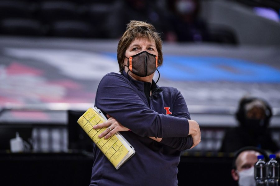 Head Coach Nancy Fahey looks from the sidelines at the gameplay as the team plays in the Big Ten Womens Basketball Tournament on March 10. Fahey looks for the team to improve offensively.